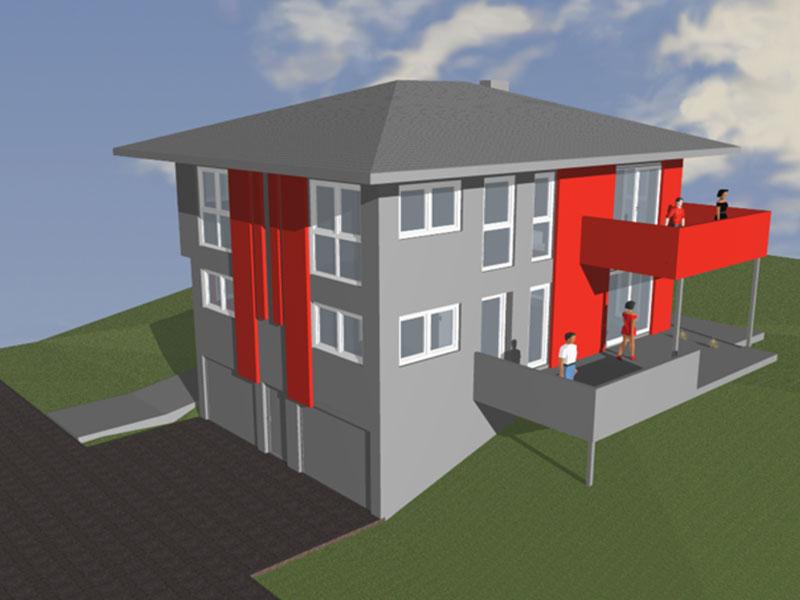 Skizze Haus Außen von Ernst Wolfger, Fassadendämmung, Planung, Steinwolle